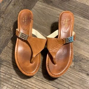 Coach leather platform sandals size 8.5